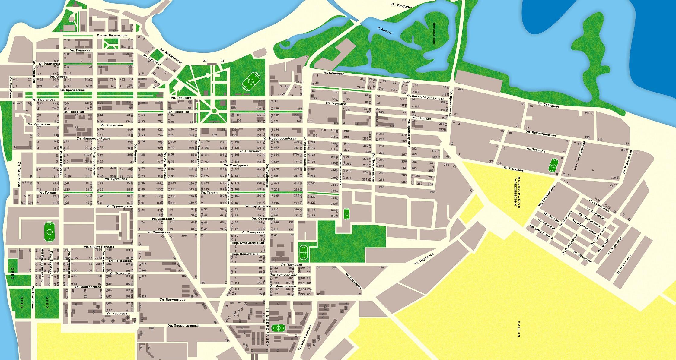 Геленджик карта Подробная карта с улицами домами